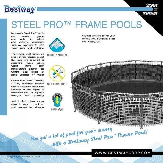Сглобяем басейн Steel Pro 305x76см Bestway 56677