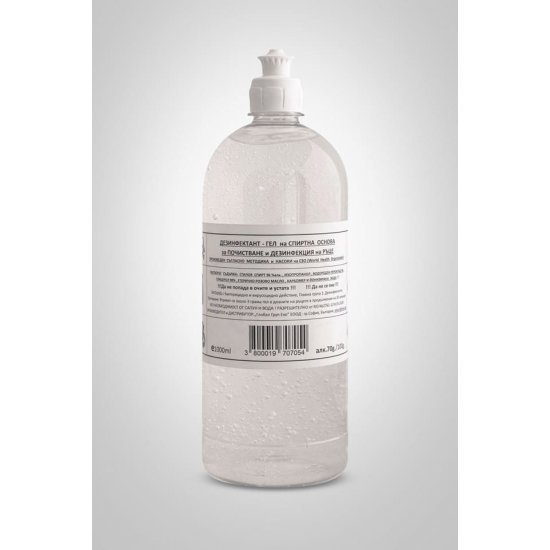 Дезинфекциозен висококачествен гел за ръце 70% с парфюм роза и подхранващ кожата - 1 л