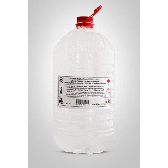 Дезинфекциозен висококачествен гел за ръце 70% с парфюм роза и подхранващ кожата модел 3 в 1 - 10 л