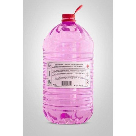 Дезинфекциозен висококачествен разтвор за повърхности 80% с парфюм роза и подхранващ кожата модел 3 в 1 - 10 л