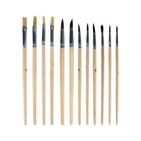 Комплект дървена палитра с 12 четки за рисуване - 150817