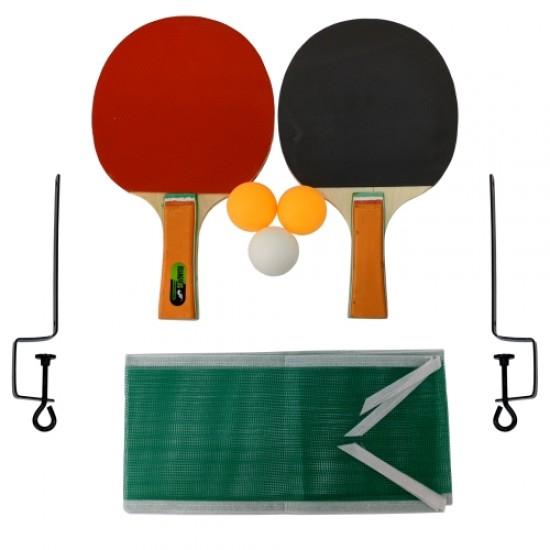 Хилки за тенис на маса - Комплект 2 броя с 3 топчета, мрежа и стойка - 200315