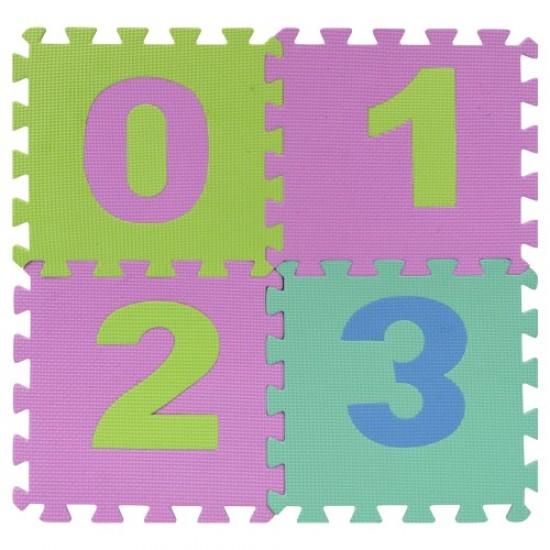 Пъзел (настилка) EVA с цифри от 0 до 9, 10 листа, 29х29х0.8 см