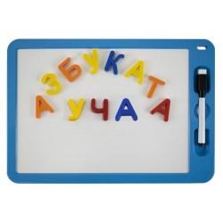 Комплект двустранна магнитна бяла дъска с букви и маркер с гъбичка MAXIMA