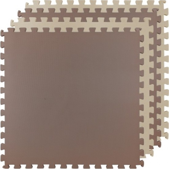 Настилка, 62х62х2 см, Изработена от EVA, Комплект 4 броя, 2 бежови и 2 кафяви листа