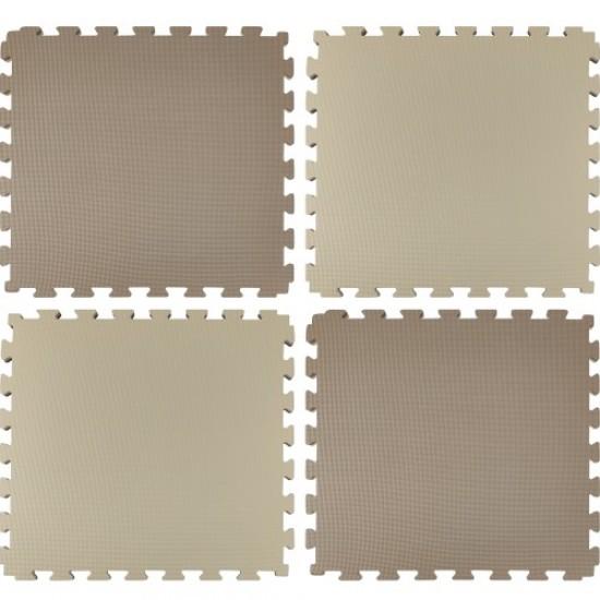 Настилка, 62х62х2 см, Изработена от EVA, Комплект 4 двуцветни броя - в кафяв и бежов цвят
