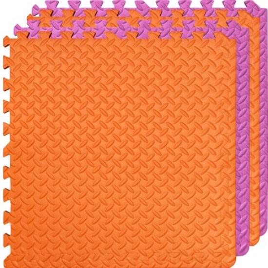 Настилка ЕVA,  4 броя в комплект, 2 оранжеви, 2 розови