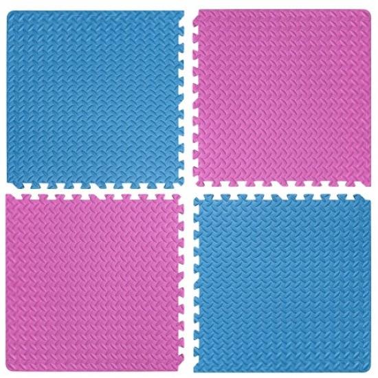 Настилка ЕVA,  4 броя в комплект, 2 розови, 2 сини