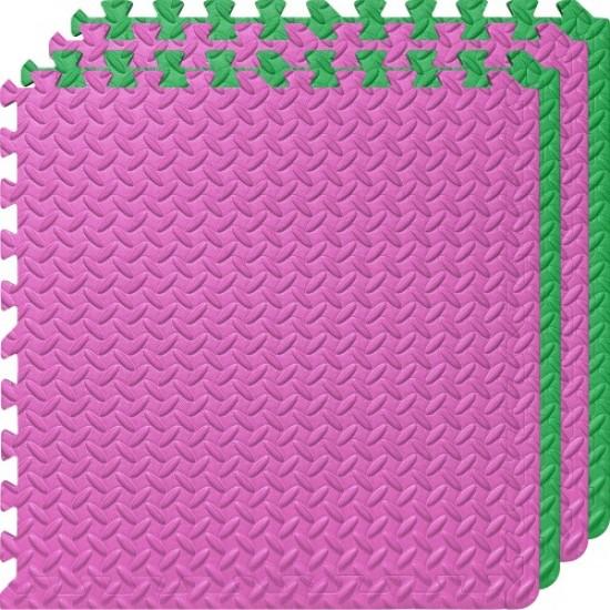 Настилка ЕVA, 4 броя в комплект, 2 розови, 2 зелени