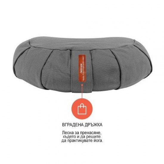 Възглавница за медитация полумесец (полузафу) MAXIMA, Сив, 36x22x13