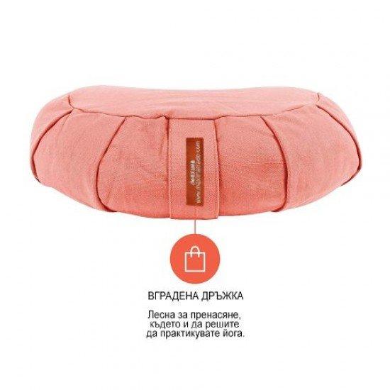 Възглавница за медитация полумесец (полузафу) MAXIMA, Розов, 36x22x13