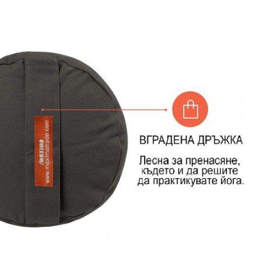 Йога болстер цилиндричен (възглавница, зафу) MAXIMA, Сив, 71x25x25 см