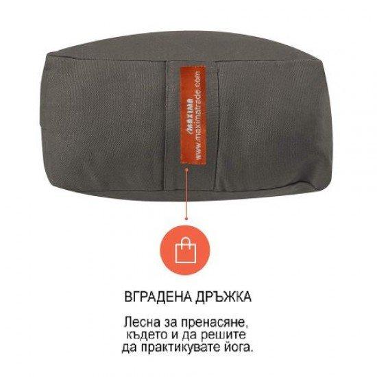 Йога болстер правоъгълен (възглавница, зафу) MAXIMA, Сив, 61x30x15 см