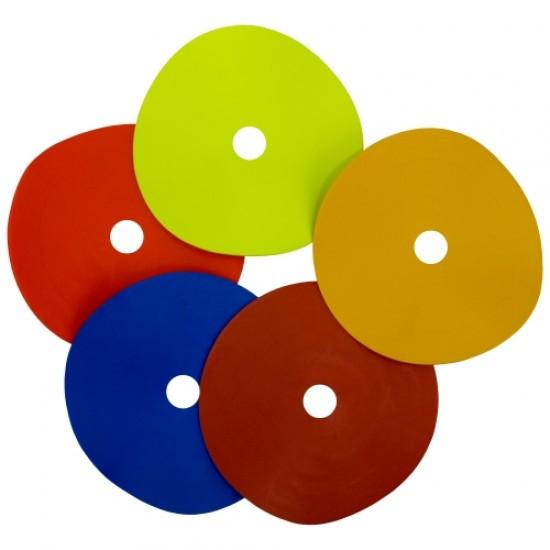 Маркери кръгли Ф15 см с дупка, 30 броя, 5 цвята, комплект с носач