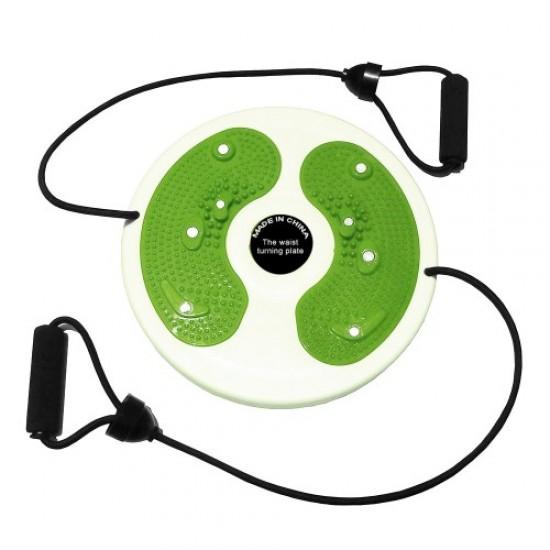 Диск за въртене, 28 см, С ластици, Бял с зелен