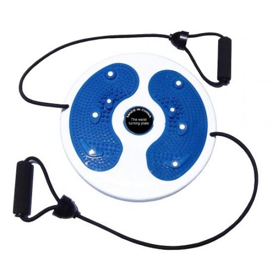 Диск за въртене, 28 см, С ластици, Бял със син