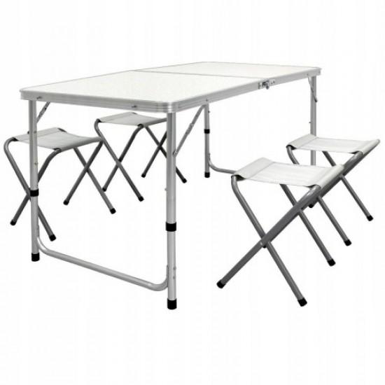 Сгъваема маса за къмпинг, Със столове и отвор за чадър, Бяла