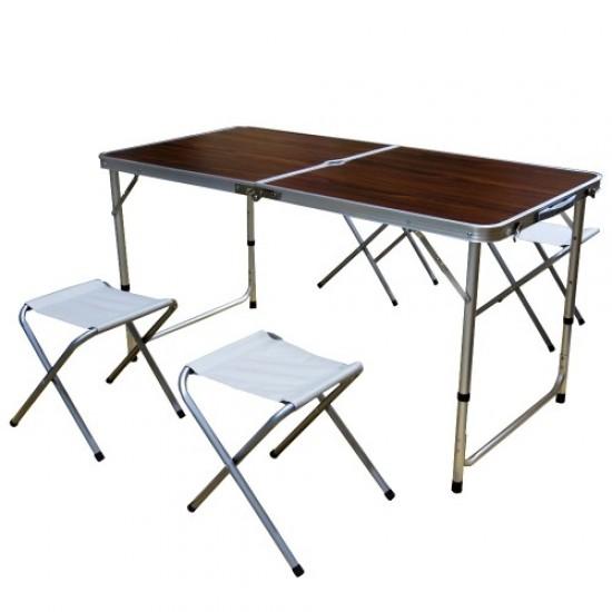 Сгъваема маса за къмпинг, Със столове и отвор за чадър, Кафява