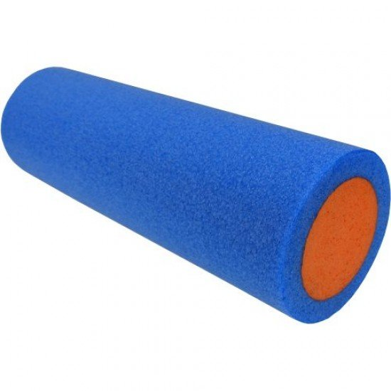 Фоумролер за пилатес и йога с гладка повърхност 45х15х15 см - Син с оранжев