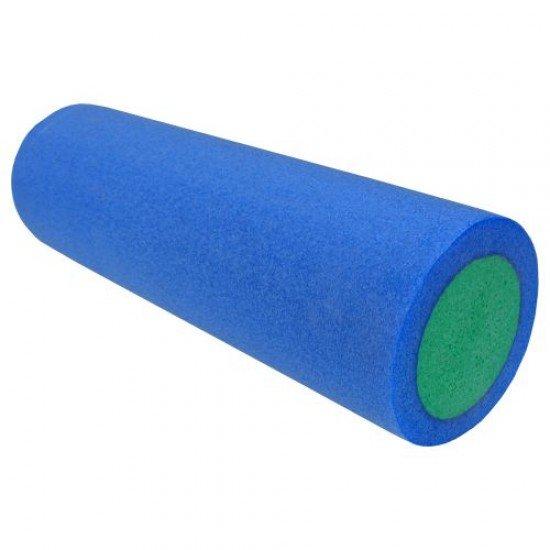 Фоумролер за пилатес и йога с гладка повърхност 45х15х15 см - Син със зелен