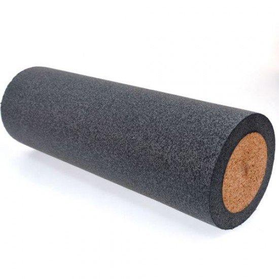 Фоумролер за пилатес и йога с гладка повърхност 45х15х15 см - Сив с кафяв