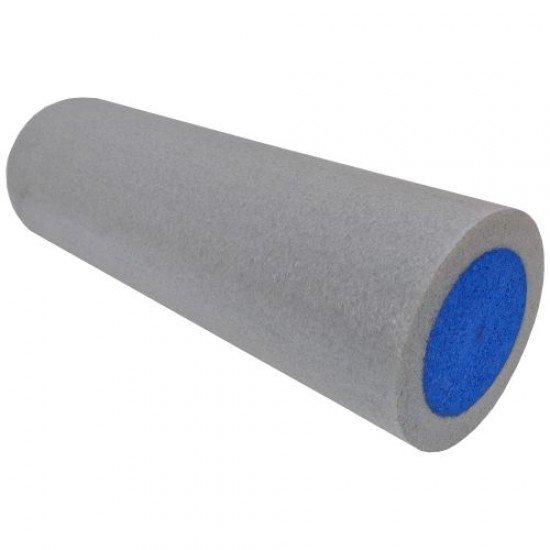 Фоумролер за пилатес и йога с гладка повърхност 45х15х15 см - Сив със син