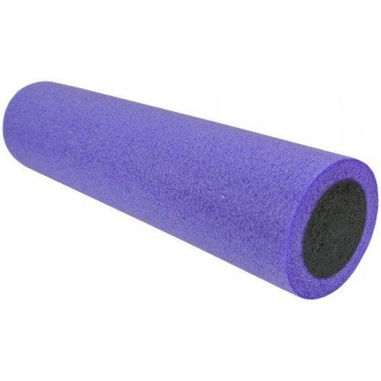 Фоумролер за пилатес и йога с гладка повърхност 60х15х15 см - Лилав с Черен