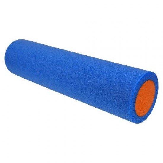 Фоумролер за пилатес и йога с гладка повърхност 60х15х15 см - Син с оранжев