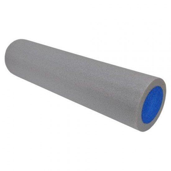 Фоумролер за пилатес и йога с гладка повърхност 60х15х15 см - Сив със син