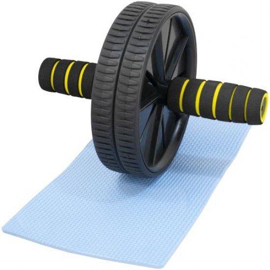 Колело за коремни преси с подложка за колене - Черен