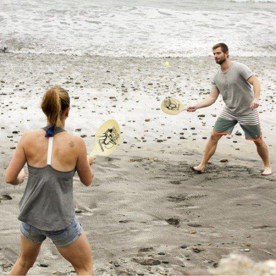 Комплект дървени хилки с тенис топка, За плажен тенис