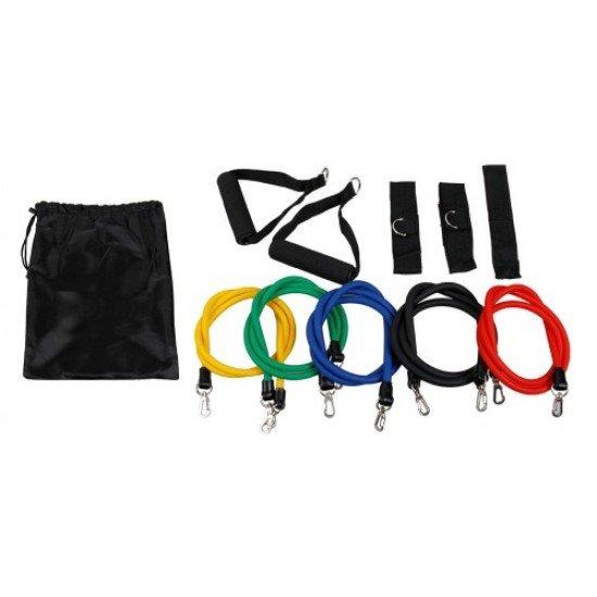 Ластици за упражнения MAXIMA, Комплект 5 броя с дръжки