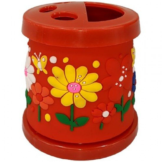 Моливник-чашка за четки в червен цвят, 330 мл