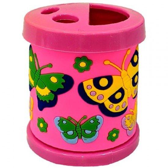 Моливник-чашка за четки в розов цвят, 330 мл