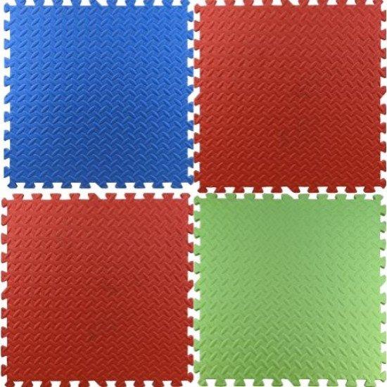 Настилка ЕVA 61х61х1,5 см 4 броя комплект - 2 броя Червен, Зелен, Син