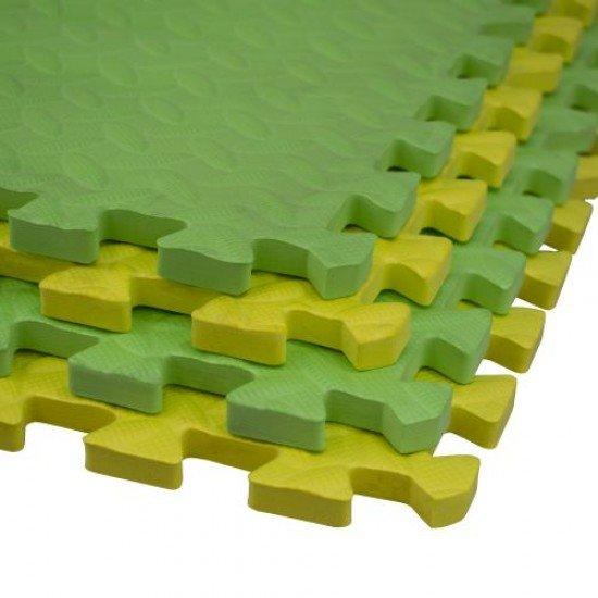 Настилка ЕVA 61х61х1,5 см 4 броя комплект - 2 броя Жълт, 2 броя Зелен
