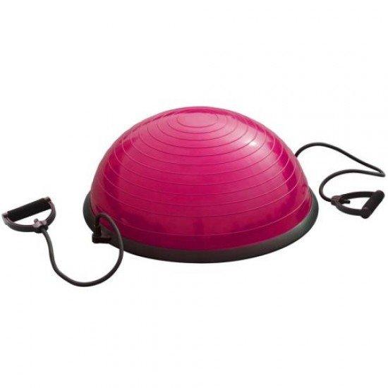 Полутопка за баланс BOSU Ball 60 см с твърда PVC основа и ластици - Розова