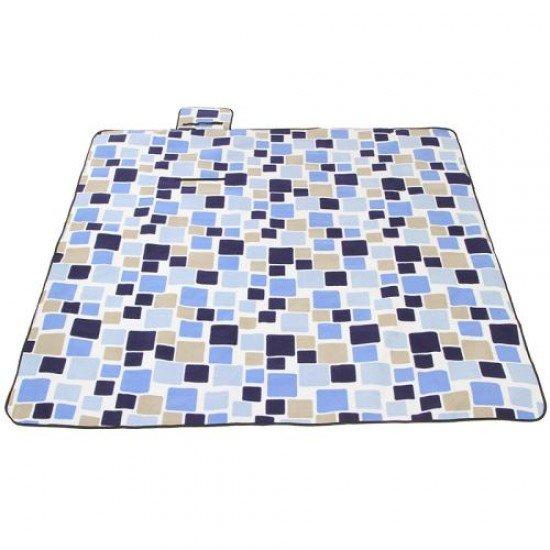 Постелка за пикник, къмпинг MAXIMA, 145х200 см - Сини Квадрати