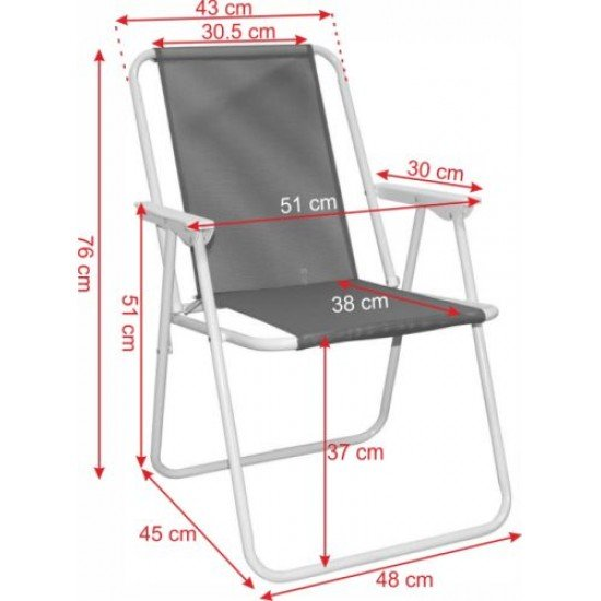 Сгъваем стол MAXIMA, Стоманен профил - Дизайн 10