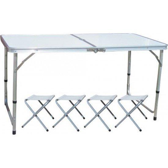 Сгъваема маса за къмпинг MAXIMA, Със столове и отвор за чадър