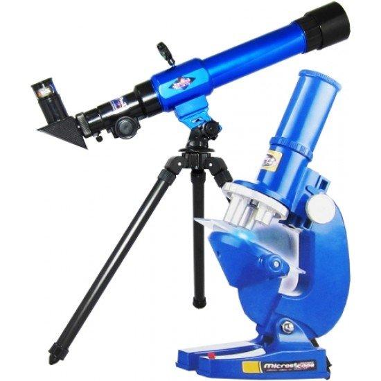 Телескоп с компас, триножник, микроскоп и аксесоари комплект