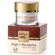 Натурален нощен крем за лице с Арган и Макадамия Natural Cosmetic, 50 мл