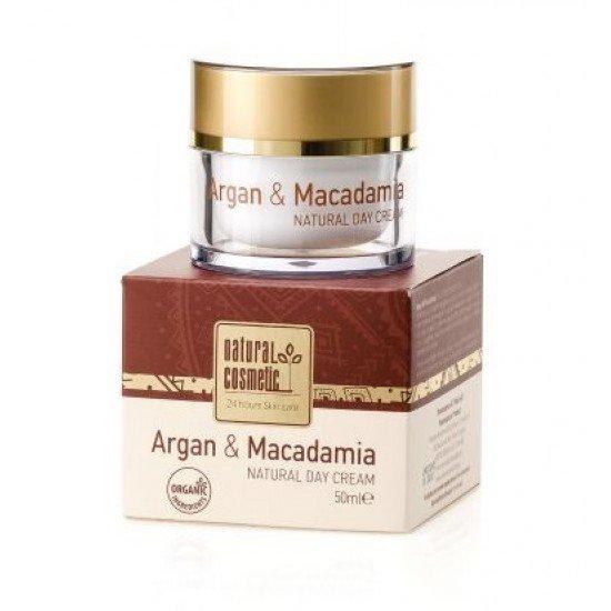 Натурален дневен крем за лице с Арган и Макадамия Natural Cosmetic, 50 мл