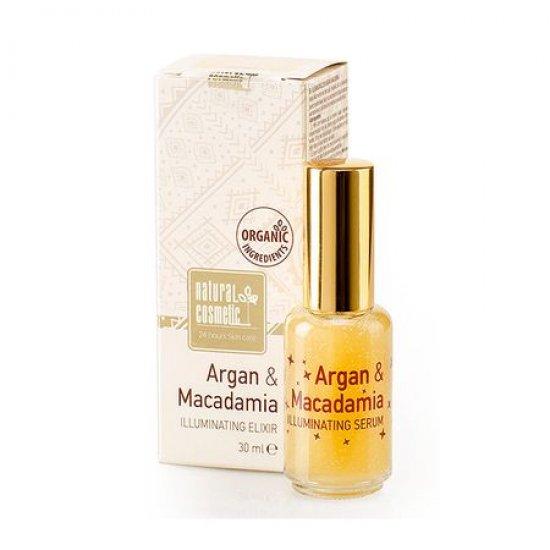 Озаряващ еликсир за лице с Арган и Макадамия Natural Cosmetic, 30 мл