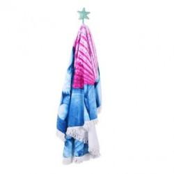 Кръгла плажна кърпа - розова мида