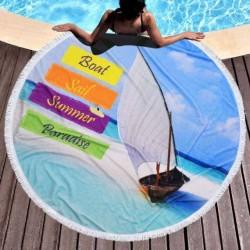 Кръгла плажна кърпа - лодка в рая