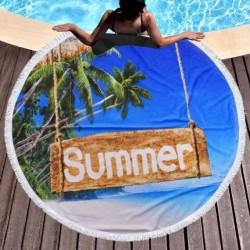 Кръгла плажна кърпа - палмово лято
