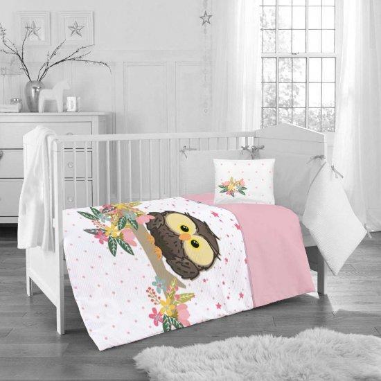 Бебе спално бельо ранфорс 100/150 - Розов Бухал