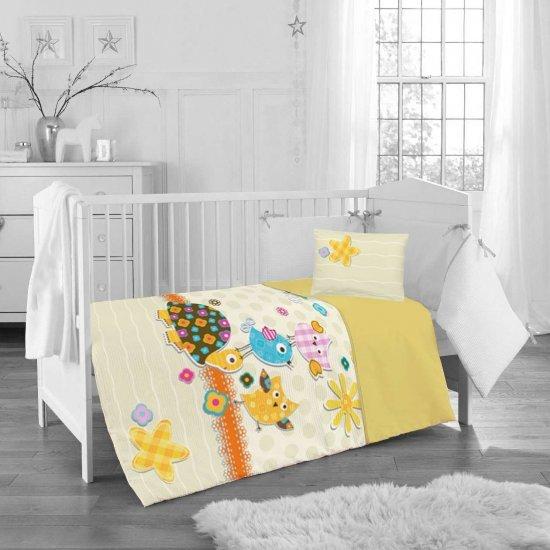 Бебе спално бельо ранфорс 100/150 - Жълта Костенурка