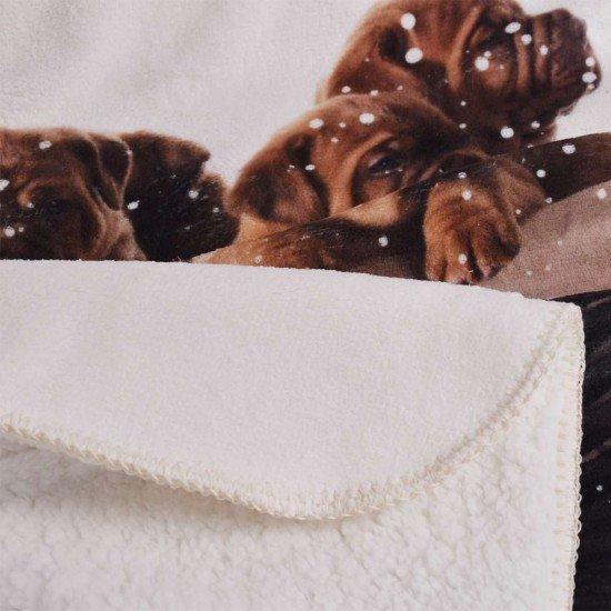 Бебешко одеало DF печат 75/120 - Кучета в кошница
